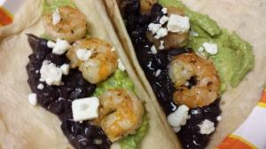 Grilled Shrimp, black beans, fresh guacamole, and feta. All the good things!