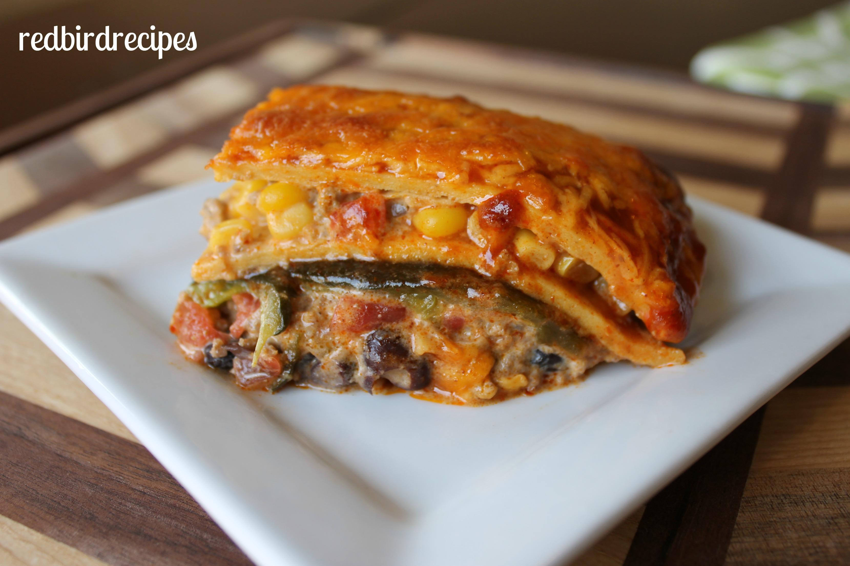 Poblano and Beef Tex Mex Lasagna | Redbird Recipes