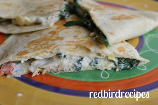 Spinach and Artichoke Quesadilla