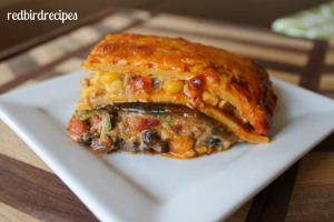 Poblano and Beef Tex Mex Lasagna